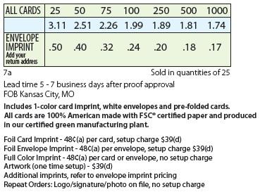 Standard Cardplant Pricing Details